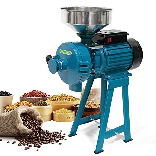 Grain Mills Wet Dry Cereals Grinder, Electric Wet Grain Mill Corn Mill Grain Grinder, Heavy Duty 3000W 110V Commercial Grain Grinder Machine, Rice Corn Grain Coffee Wheat Feed Mill Flour Mill with Funnel (Dry Wet Grinder)