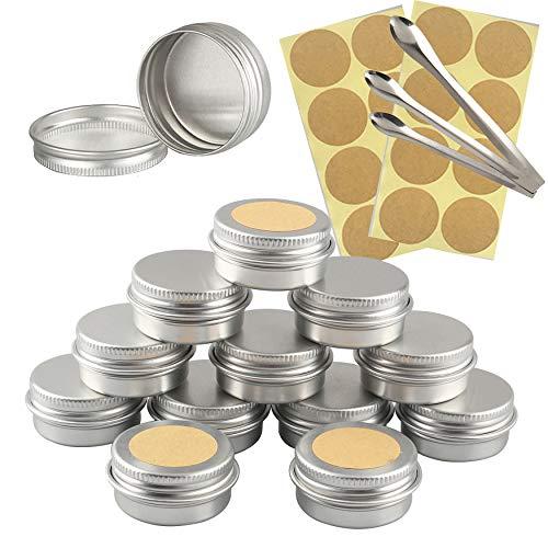 TIANZD 12 Stück Leere 10 ml Rund Silber Aluminium Tins Schraubdose Cremedose Alu-Tiegel Dosen mit Schraub-Deckel 5ml Aludose Blechdosen für Kosmetik Kerze Salben 3X Löffel, 12x Etikette