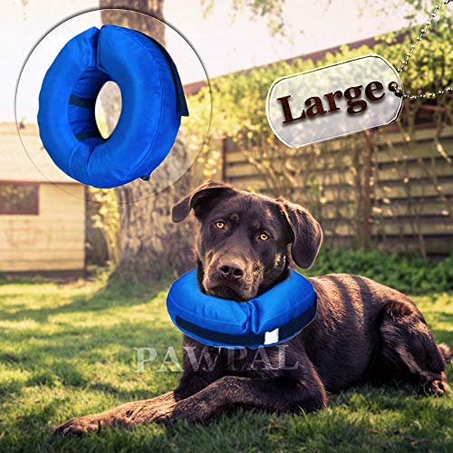 Recovery Waterproof Collar Pillow for Dogs and Cats Comfy Cone Soft Inflatable Donut Collar (Large - Inflatable Collar)