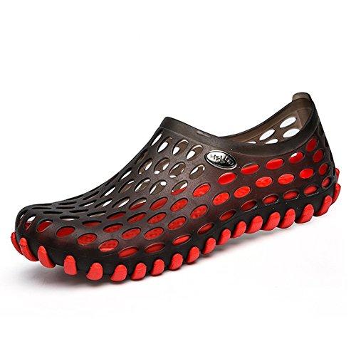 AARDIMI Atmungsaktiv Mesh Clogs Slip On Badeschuhe Sandalen STrocknend Sandalen Slipper Strand Barfuß Aqua Schuhe für Damen Herren Kinder(Hersteller-Größentabelle im Bild Beachten) (38, Rot)