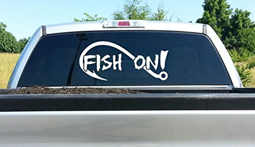 A1186 Large Fish On Bass Fishing Decal Sticker 26 Inches x 12 Inches