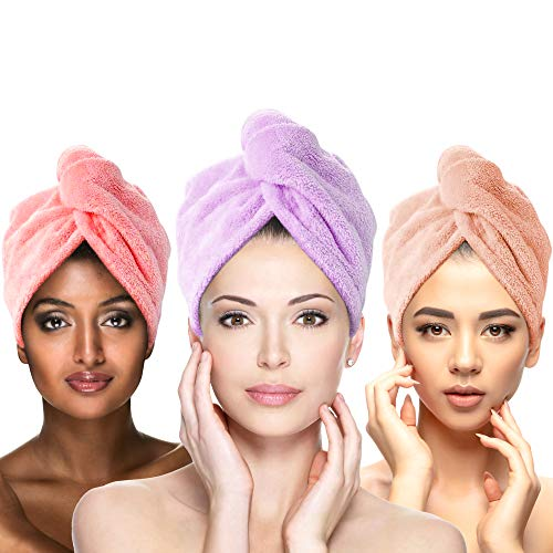 MARIA BEAU Microfiber Hair Towels for Women - Anti Frizz Hair Towel Wrap - Absorbent Towels with Elastic Loop & Secure Buttons - Hair Drying Towel for Curly/Wavy Hair – 3 Pack (Purple, Pink, Brown)