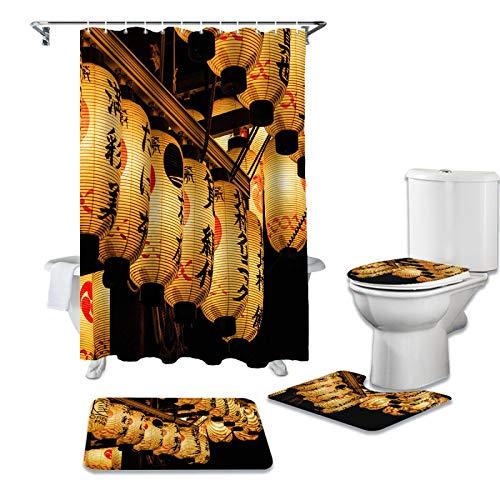 ZHEXI Juego de cortinas de ducha y alfombras japonesas con farol de noche y cubierta de tapa de inodoro de baño impermeable