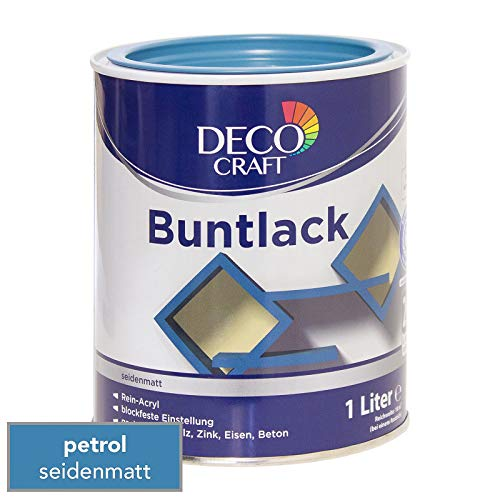 Deco Craft Buntlack Petrol seidenmatt 1 Liter Rein-Acryl Lack + Grundierung Schnelltrocknend