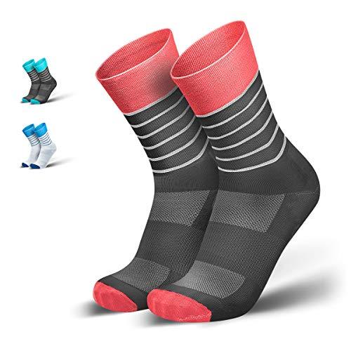 INCYLENCE Running Socks Kompressionsstrümpfe für Damen und Herren aus der atmungsaktiven, unterstützenden, ultraleichten Dryarn® Mikrofaser, Coral, 43-46