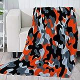 Mikrofaser Kuscheldecke Sherpa Decke für Erwachsene Kinder Camouflage-Orange Weich Flanell Fleecedecke Wohnzimmerdecke Tagesdecke Sofadecke 70 x 100 cm