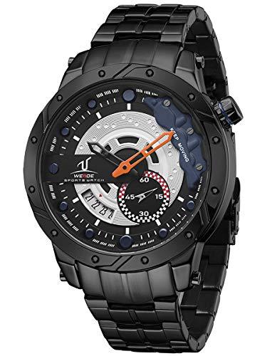 Alienwork Reloj Hombre Relojes Negro Calendario Fecha Azul XL Grande
