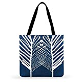 Bolsos Totes,Retro Blue Plant Impreso Tote Bag para Mujer Casual Tote Ladies Shoulder Bag Outdoor Beach Tote Plegable Shopping Bag Fashion, 35Cm X40Cm