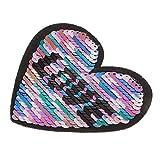 #N/A ラブハートリバースカラー変更スパンコール縫製パッチ服DIYアップリケ服ジーンズクラフト