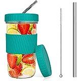 Bicchieri riutilizzabili con 2 coperchi e cannucce, spazzola per la tazza da tè,tazza da viaggio in vetro,bicchiere da Mason Jar Sippy Cup per Boba Tea Smoothie Juices Jam,650 ml