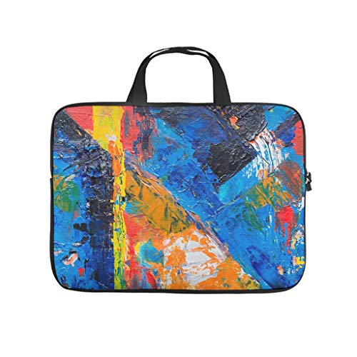 Oil Graffiti on Canvas Texture Laptop Bag Anti-Static Protective Case for Laptops Colourful Notebook Bag for University Work Business