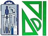 Pack/Set-Compás Escolar de Precisión Staedtler 550 + Conjunto con: Escuadra, Cartabón, Regla y Semicírculo, Color Verde (02)