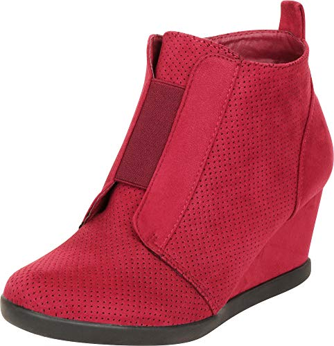 Cambridge Select Women's Perforated Stretch Mid Wedge Ankle Bootie,6.5 B(M) US,Burgundy IMSU