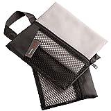 Ultrasport Toalla deportiva de microfibra, utilizable como toalla para fitness y toalla de viaje, agradablemente compacta con unas medidas de 30x60 cm aprox.set de 2 unidades, con bolsa de transporte