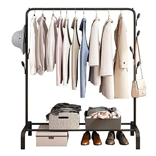 Trockengestell Metall Kleiderständer Freistehender Kleiderbügel Schlafzimmer Multifunktionaler Mobiler Garderobenständer Mit Schuhregal Und 7 Haken for Schlafzimmer, Flur