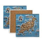 Posavasos de FANTAZIO Lanzarote para copa de vino, taza de té, posavasos con diferentes patrones, adecuado para tipos de tazas y tazas, madera, 1, 1 piece set
