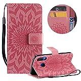 Gurt Brieftasche für Huawei P30 Lite,Rosa Handyhülle für Huawei P30 Lite,Moiky Ziemlich Schöne Mandala Sonnenblume Geprägt Klappbar Kartenfächer Stoßdämpfende Ledertasche mit Stand -