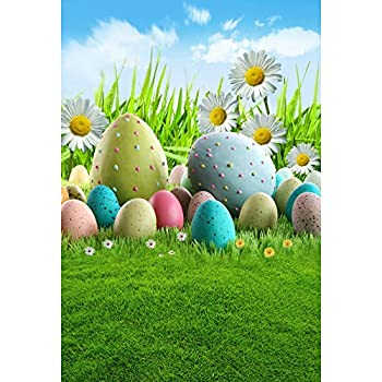Laeacco 4x6ft Easter Eggs Photo Backdrop Spring Garden Green Grass Lawn Easter Day Background Community Eggs Hunts Decoration Daisy Blue Sky White Clouds Easter Backdrop Adult Children Portraits