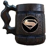 Superman Wooden Beer Mug, Superman Beer Stein, DC Comics Fan Wedding Gift, Beer Tankard, Geek Gift