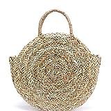 Dwqlx Nuevo Bolso De Paja Grande Natural Tejido A Mano Paja De Popularidad Redonda Bolso De Hombro De Mujer Bolso De Vacaciones De Playa Bolso Grande De Mano Para Mujer