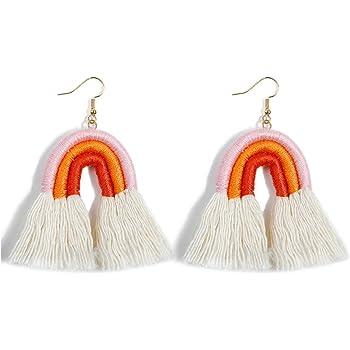arco Iris Largo Pendientes Colgantes De Multicolores Boho Hecho a mano borla pendientes