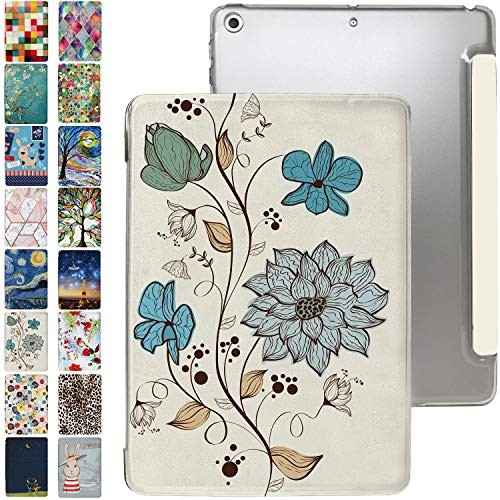 iPad PRO 10.5 Case 2017 / Air 3rd Generation 2019 with Slim Fit Dual-Angel Stand & Hard PC Clear Back[Protective Smart Cover] for 10.5' iPad PRO/Air 3 Gen [Auto Sleep/Wake]-Printed Watercolor Flowers