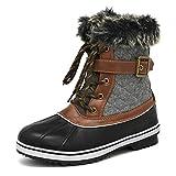DREAM PAIRS Women's River_3 Black Grey Mid Calf Winter Snow Boots Size 7 M US