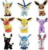 FDD 15cm 5.9 inches A Set of Plush Toys, Each Set of 9 Eevee Umbreon, Silvión Voconston, Jolteon Leafeon Espeon Flareon Flareon Glaceon Evolution Plush Toys