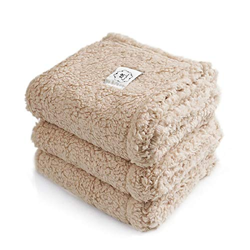 1 Pack 3 Blankets Fluffy Premium Fleece Pet Blanket Soft Sherpa Throw for Dog Puppy Cat Beige Small (23x16'')