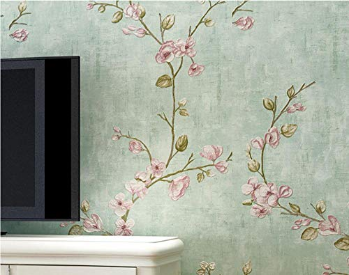 Papel Pintado de Flores de Jardín Vintage Verde Moderno No Tejido Papel Pintado Rollo para Recámara Sala de Estar Habitación de los Niños Sofá TV Fondo de Pared Decoración del Hogar