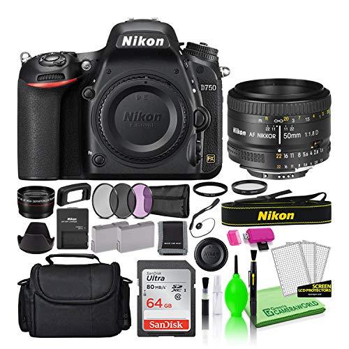 Nikon D750 DSLR Digital Camera with AF 50mm f/1.8D Lens (1543) USA Model Deluxe Bundle -Includes- Sandisk 64GB SD Card + Nikon Gadget Bag + Filter Kit + Spare Battery + Telephoto Lens + More