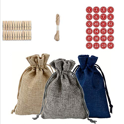 TaoToa Bolsas calendario cuenta atrás bolsa de yute calendario de Adviento bolsa de almacenamiento de dulces bolsa de bricolaje