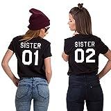 Best Friends BFF Damen Kurzarm T-Shirt (Schwarz - Sister 02, S)