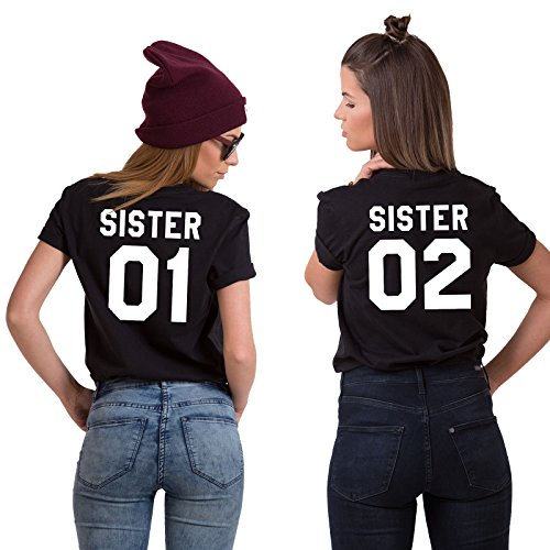 Best Friends BFF Damen Kurzarm T-Shirt (Schwarz - Sister 01, XS)