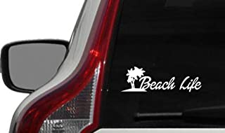 Surf Palm Tree Beach Life Car Die Cut Vinyl Decal Bumper Sticker for Car Truck Auto Windshield Wall Window Ipad Tablet Macbook Laptop Computer Home Custom and More (White)