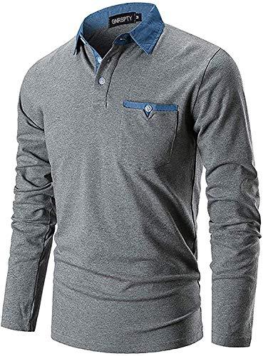 GNRSPTY Polo Manica Lunga Uomo Maglietta Denim Collare Maglia Elegante Cotone T-Shirt Golf Tennis Lavoro Camicia,Grigio Scuro,L