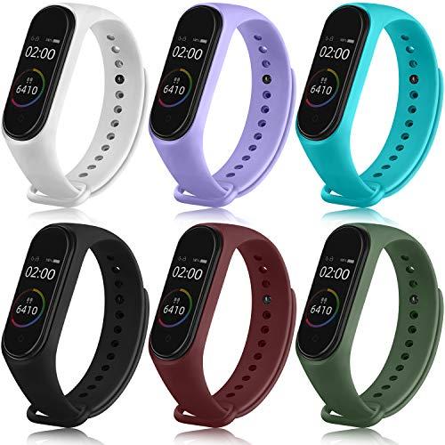 Wanme 6 Piezas Correa para Xiaomi Mi Band 4 Xiaomi Mi Band 3 Pulseras Reloj Silicona Banda Original para Xiaomi Mi Smart Band 4 Recambio Correa (6 Colores- B)