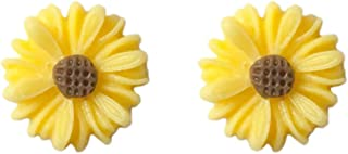 Women Girls Yellow Little Daisy Sunflower Charm Studs Resin Brown honeycomb blossom Stud Post Earring