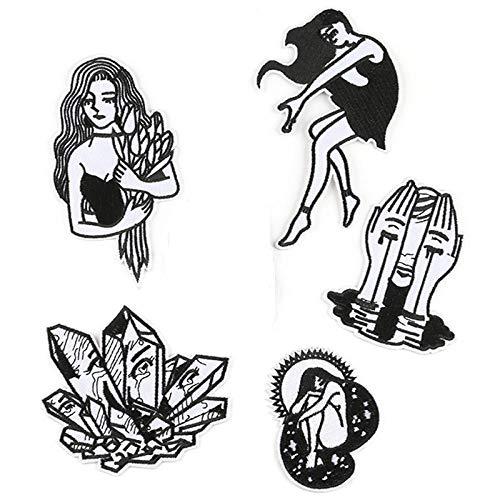 LZHLMCL Parche de hierro en apliques 6 unids bordado tela pegatinas negro y blanco color chica parche pegatinas ropa accesorios insignia bordado