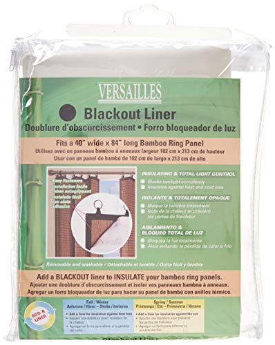 Bamboo Ring Top Curtain BL02 38-inch L x 80-inch H Insulating Blackout Liner for Panel, off-White