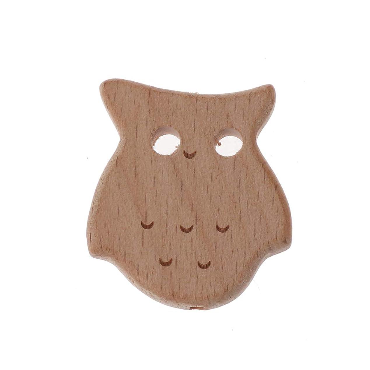 切り刻むハブプリーツLandwoodウッド歯が生えるビーズニレ動物ビーズ赤ちゃんのおもちゃDIYおしゃぶりチェーンアクセサリー - フクロウ