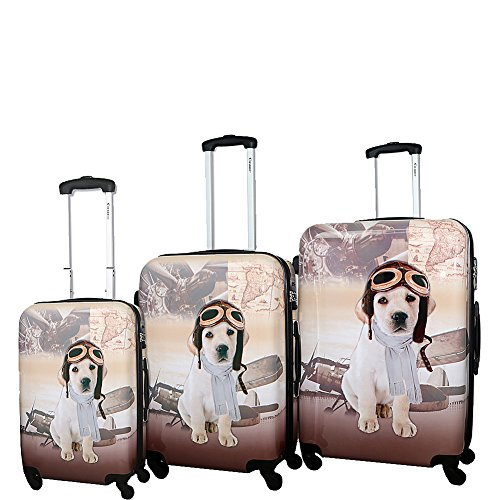Chariot Pilot Dog 3-piece Hardside Lightweight Spinner Luggage Set, One Size