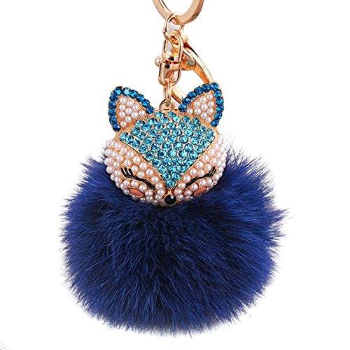Ball with Artificial Fox Head Inlay Pearl Rhinestone Key Chain DB, Gifts for Women and Girls (Dark Blue)