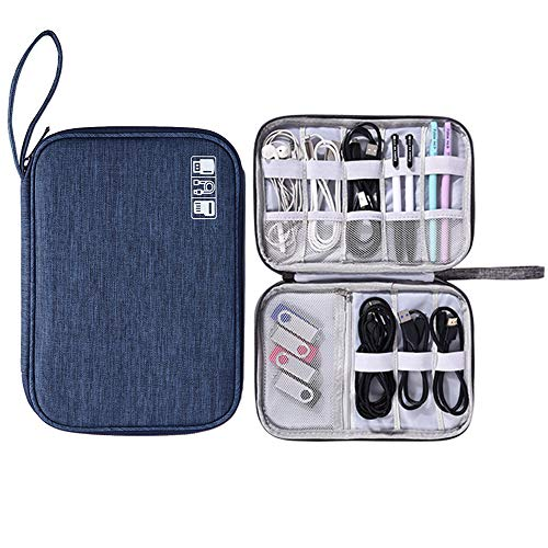 Muyasea Travel Cables Organizer Bag Waterproof Portable Electronics Accessories Case with Chargers Gadgets Cables SD Card Power Bank Wires C-Dark Blue