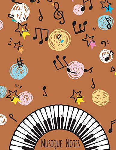 Musique Notes: Carnet de partitions vierge couleur Terre cuite - papier manuscrit - 11 portées par page - pas de clef - 120 pages - grande format - Couverture moderne souple