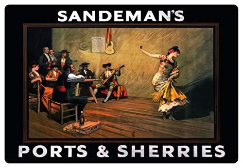Metalen bord 30x20cm reclame Sandemans poorten & Sherries schild nostalgie Tin Sign