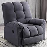 ANJ Rocker Recliner Chair Adjustable Overstuffed Fabric Manual Reclining Chair Soft Contemporary Sofa for Living Room(Navy Blue)