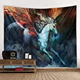 KHKJ Pegasuse Caballo Tapiz Unicornio Colgante de Pared Universo Estrellado Tapiz de Pared Bohemio Mandala Hippie Dormitorio Tapiz A8 200x180cm