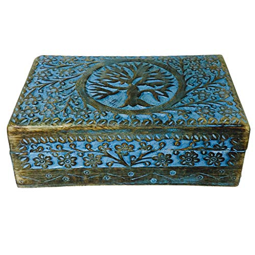 Blue Painted Tree of Life Carved Wooden 5x8 Wood Celtic Knot Chest Trinket Boxes #GRG20