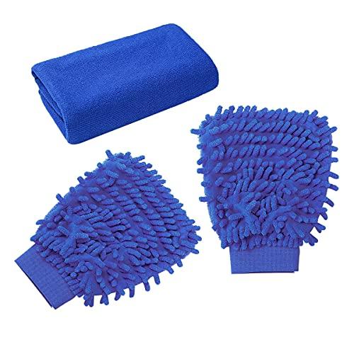 Guanto in Microfibra per Lavaggio Auto 3 Pezzi Guanto Lavaggio Auto Guanti e Panno per Pulizia Auto e Pulizia Della Casa (Blu)
